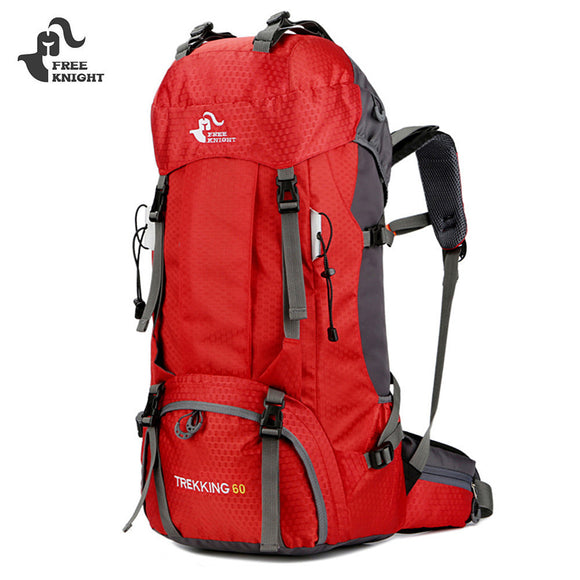 FREEKNIGHT 60L Camping Hiking Backpack Water Resistant with Rain Cover