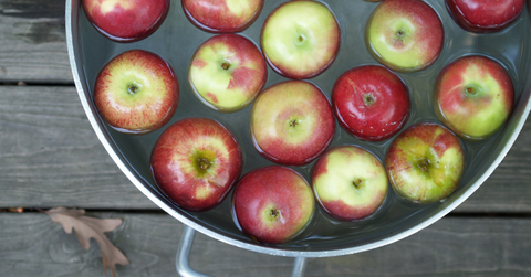 A pail of apples and water for a game of bobbing for apples.