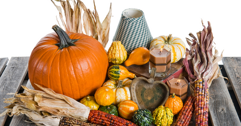 Fall decorations on a table.
