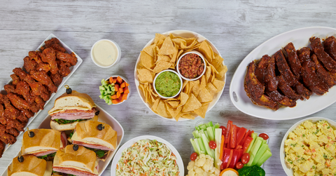 Table of party food for a family gathering.