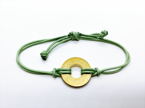 Clearance Sale - 18 Bracelets - Jade Green Cord with Brass Token