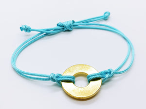 Clearance Sale - 18 Bracelets - Electric Blue Cord with Brass Token