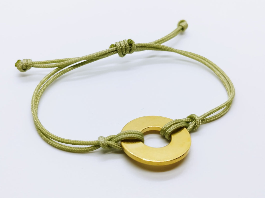 Clearance Sale - 18 Bracelets - Avocado Cord with Brass Token