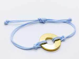 Clearance Sale - 18 Bracelets - Baby Blue Cord with Brass Token