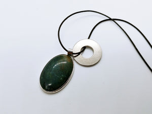 Necklace with Stone Green Moss Agate Pendant
