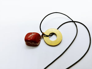 Necklace with Red Jasper Drop Pendant