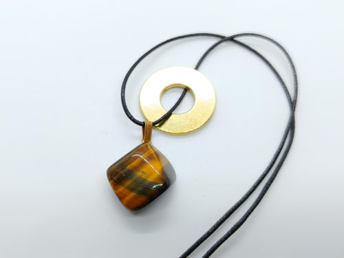 Necklace with Tiger Eye Drop Pendant