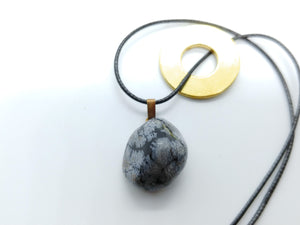 Necklace with Snowflake Obsidian Drop Pendant