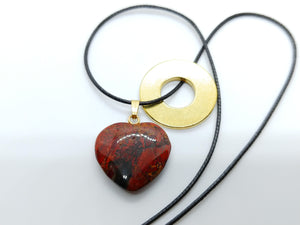 Necklace with Poppy Jasper Heart Pendant