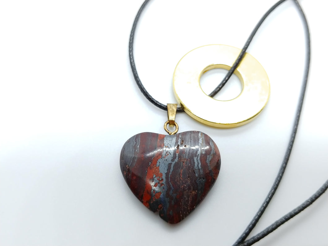 Necklace with Tiger Iron Heart Pendant