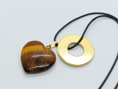 Necklace with Tiger Eye Heart Pendant