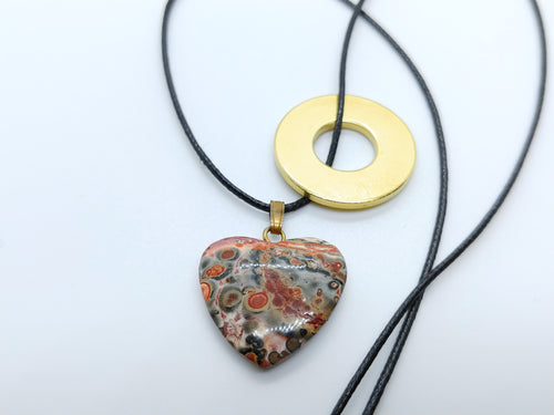 Necklace with Leopard Skin Jasper Heart Pendant