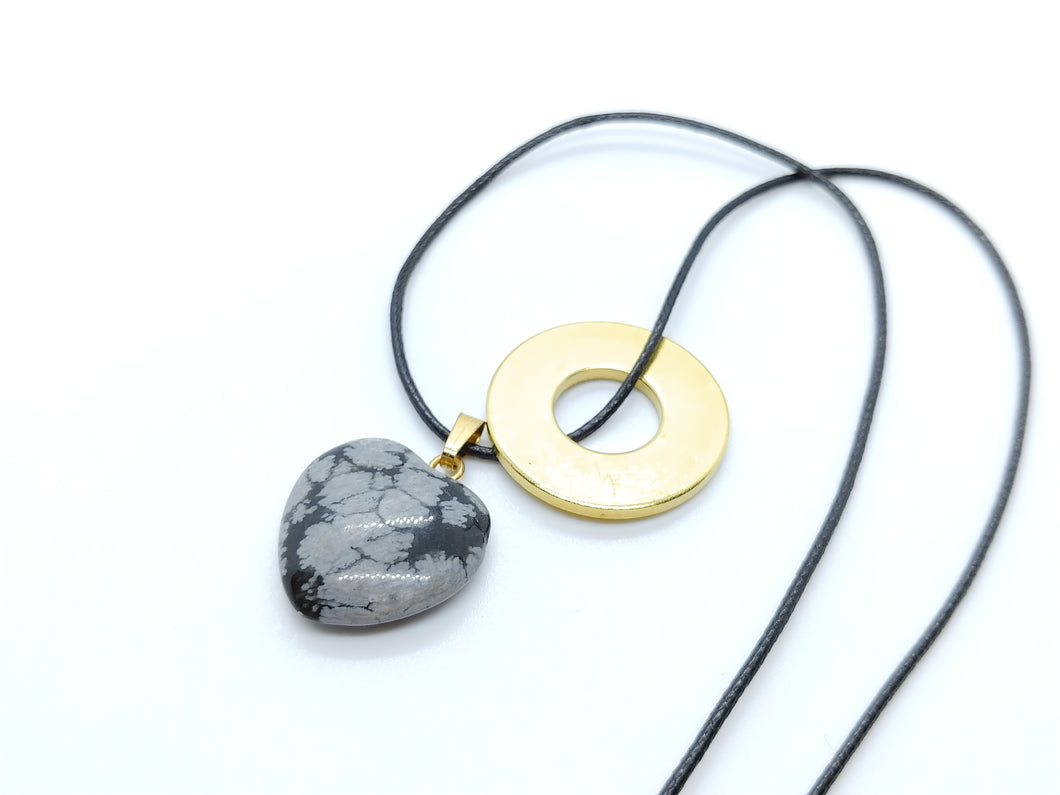 Necklace with Snowflake Obsidian Heart Pendant