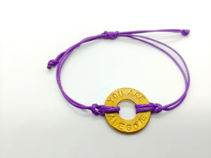 """You Are Awesome"" Purple Classic Pre-Stamped Bracelet"