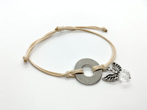 Classic Adjustable Bracelet with Silver Angel Charm