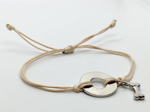Classic Adjustable Bracelet with Nickel Dog Charm