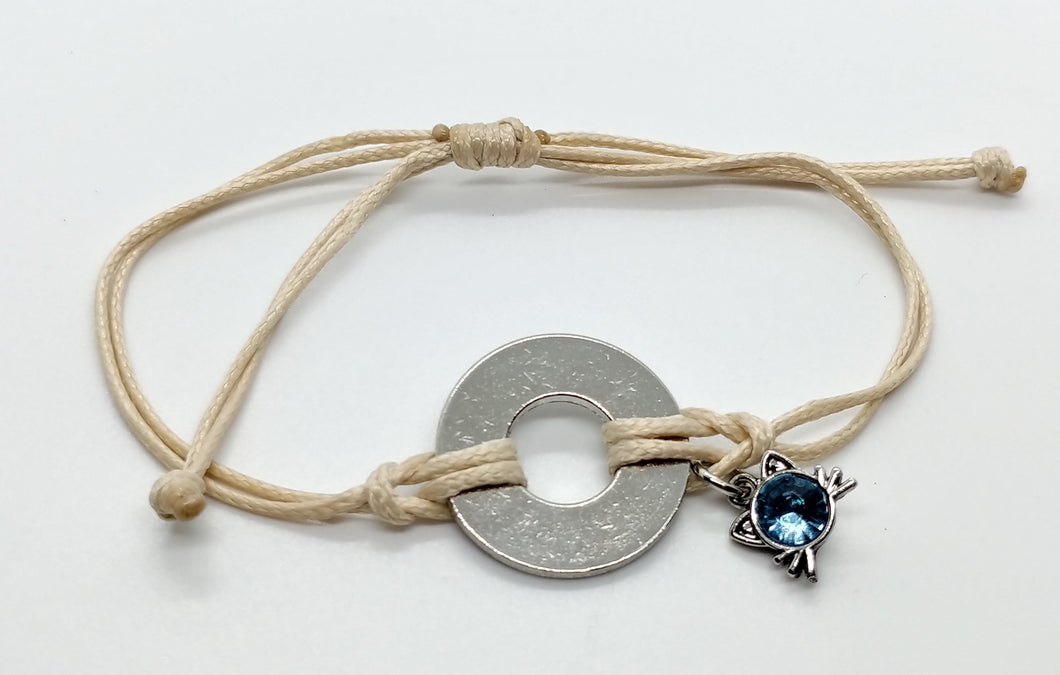 Classic Adjustable Bracelet with Cat Whiskers Charm