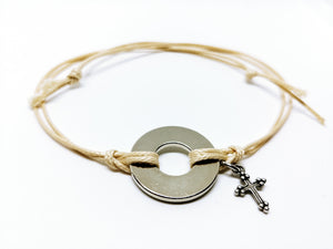 Classic Adjustable Bracelet with Silver Cross Charm