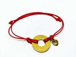 Classic Adjustable Bracelet with Brass Heart Charm