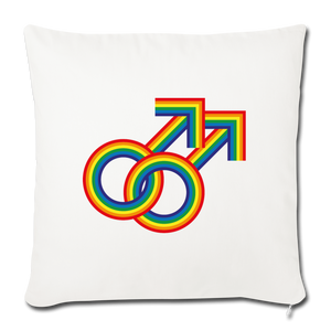 "Gay Couple Rainbow Throw Pillow Cover 18"" x 18"" - natural white"