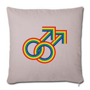 "Gay Couple Rainbow Throw Pillow Cover 18"" x 18"" - light taupe"