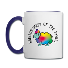 Rainbow Sheep Contrast Coffee Mug - white/cobalt blue