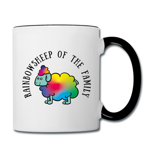 Rainbow Sheep Contrast Coffee Mug - white/black