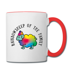 Rainbow Sheep Contrast Coffee Mug - white/red