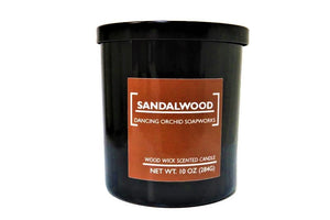 Sandalwood Scented Wood Wick Soy Candle - Dancing Orchid SoapWorks