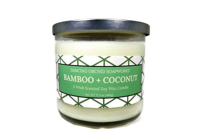 Bamboo And Coconut Scented 3 Wick Soy Wax Candle - Dancing Orchid SoapWorks
