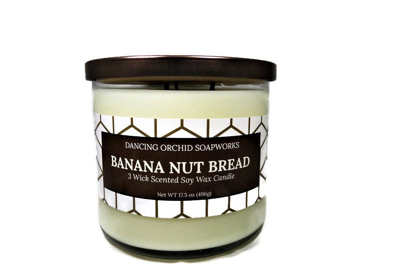 Banana Nut Bread Scented 3 Wick Soy Wax Candle - Dancing Orchid SoapWorks
