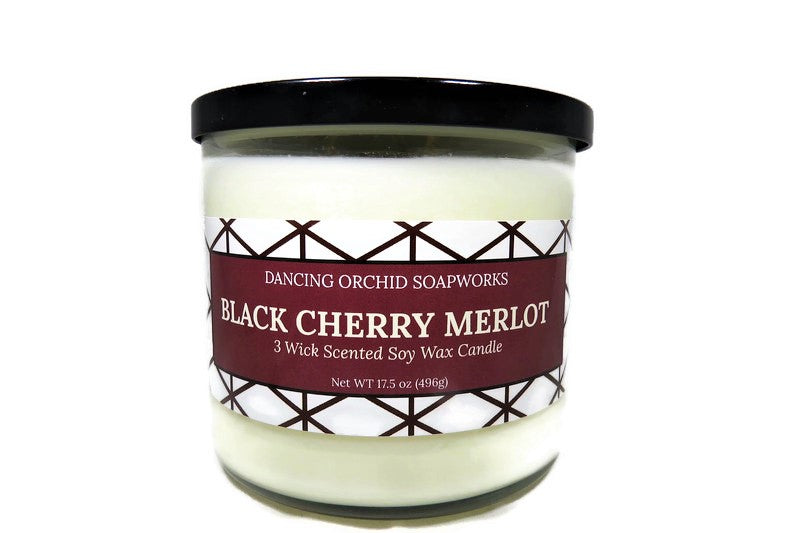 Black Cherry Merlot Scented 3 Wick Soy Wax Candle - Dancing Orchid SoapWorks
