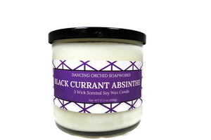Black Currant Absinthe Scented 3 Wick Soy Wax Candle - Dancing Orchid SoapWorks