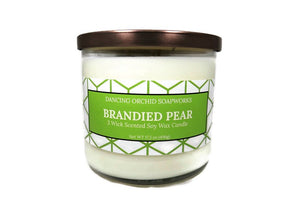 Brandied Pear Scented 3 Wick Soy Wax Candle - Dancing Orchid SoapWorks