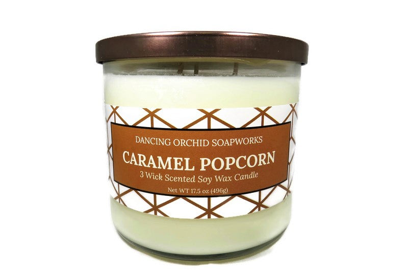 Caramel Popcorn Scented 3 Wick Soy Wax Candle - Dancing Orchid SoapWorks