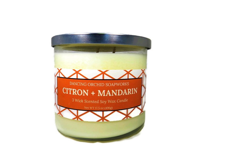 Citron And Mandarin Scented 3 Wick Soy Wax Candle - Dancing Orchid SoapWorks