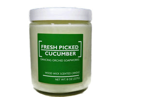 Fresh Picked Cucumber Scented Wood Wick Soy Candle - Dancing Orchid SoapWorks
