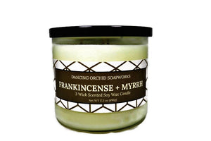 Frankincense And Myrrh Scented 3 Wick Soy Wax Candle - Dancing Orchid SoapWorks