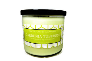 Gardenia Tuberose Scented 3 Wick Soy Wax Candle - Dancing Orchid SoapWorks