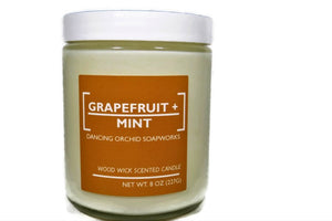 Grapefruit And Mint Scented Wood Wick Soy Candle - Dancing Orchid SoapWorks