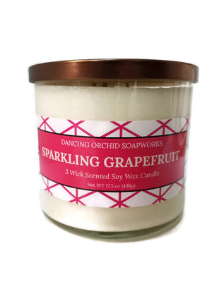 Sparkling Grapefruit Scented 3 Wick Soy Wax Candle