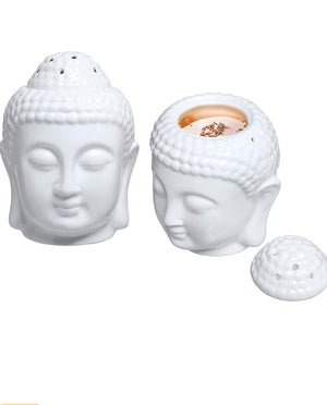 Ceramic Buddha Head Essential Oil Burner. Aromatherapy Wax Melt Burners Oil Diffuser Tealight Candle Holders - Dancing Orchid SoapWorks