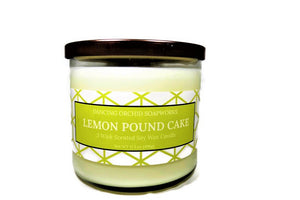 Lemon Pound Cake Scented 3 Wick Soy Wax Candle - Dancing Orchid SoapWorks