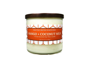 Mango And Coconut Milk Scented 3 Wick Soy Wax Candle - Dancing Orchid SoapWorks