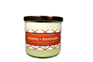Mimosa And Mandarin Scented 3 Wick Soy Wax Candle - Dancing Orchid SoapWorks