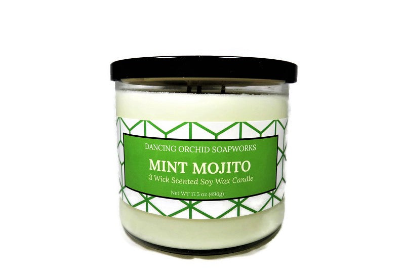 Mint Mojito Scented 3 Wick Soy Wax Candle - Dancing Orchid SoapWorks
