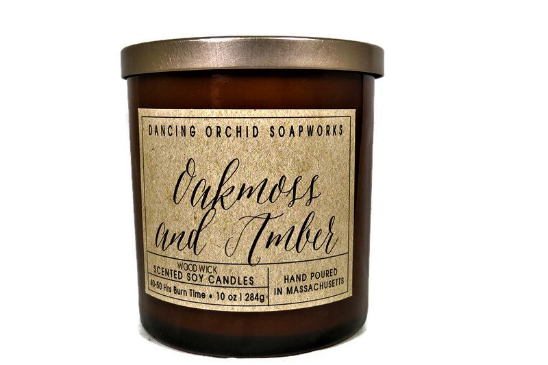 Oakmoss And Amber Scented Wood Wick Soy Candle - Dancing Orchid SoapWorks