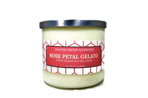 Rose Petal Gelato Scented 3 Wick Soy Wax Candle - Dancing Orchid SoapWorks