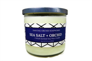 Sea Salt And Orchid Scented 3 Wick Soy Wax Candle - Dancing Orchid SoapWorks