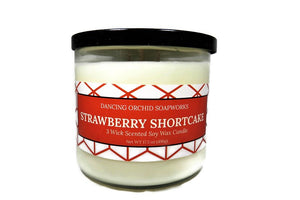 Strawberry Shortcake Scented 3 Wick Soy Wax Candle - Dancing Orchid SoapWorks